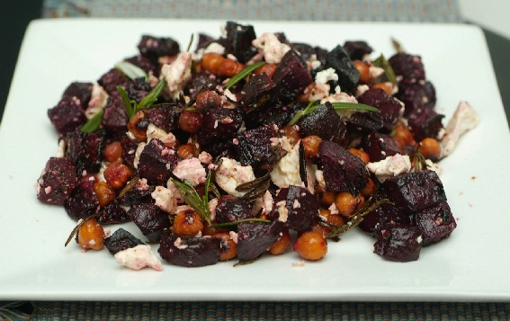 ... GODDESSES: Roast beetroot and chickpea bake with rosemary and feta