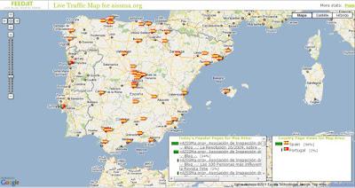 Mapa de España (Península y Baleares) sobre el que se señaliza, con banderitas españolas, el origen regional de los visitantes del Blog. Sistema de registro ofrecido por FeedJit sobre tecnología de Google Maps.
