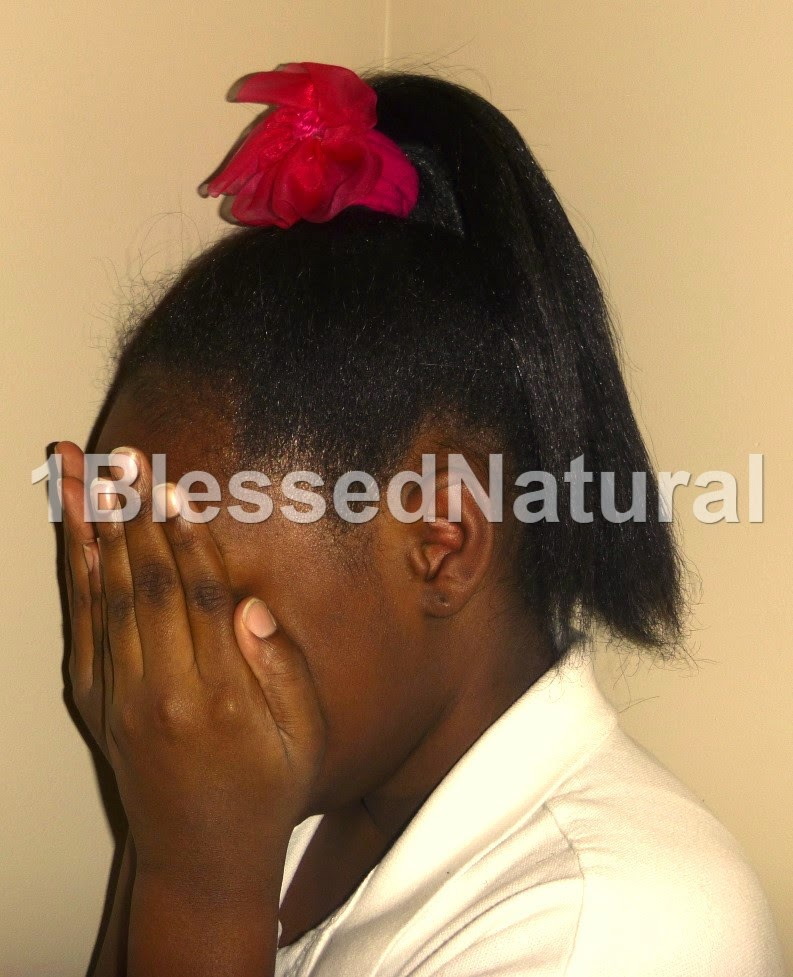 Copyright 2015- 1BlessedNatural kids flowered ponytail- sideview