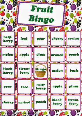 fruit bingo game for learning english