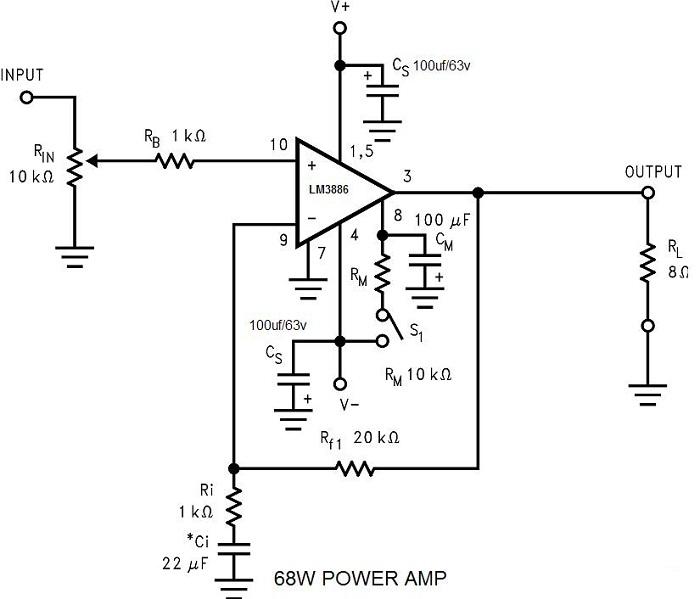 lm3886 power amplifier 68w