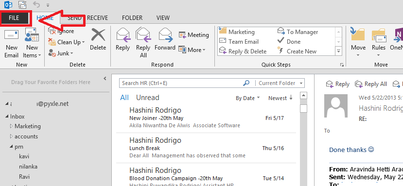 Track Email in MS-Outlook2013