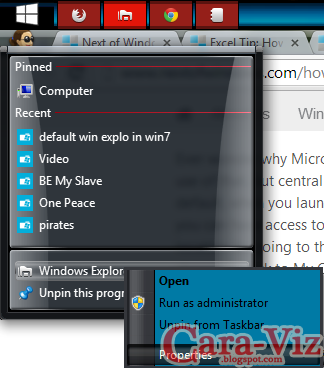 Cara Merubah Lokasi Default Toolbar Windows Explorer pada Windows 7