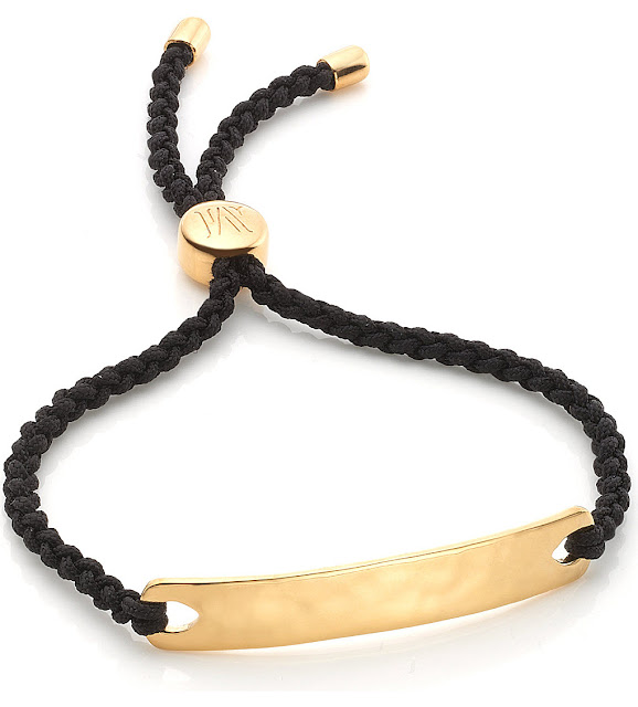monica vinader havana black bracelel, gold black friendship bracelet,