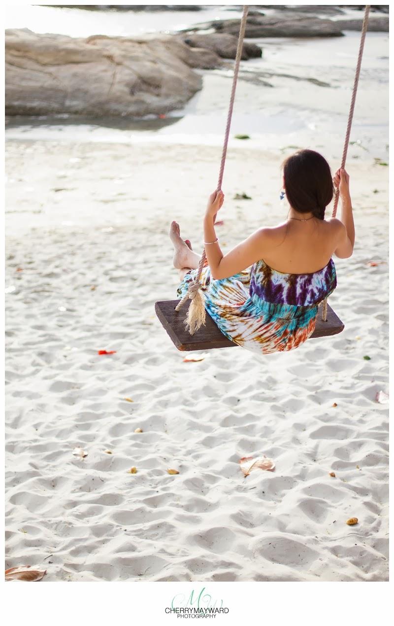woman on a swing on the beach, koh samui, thailand, swing on the beach in thailand, beautiful photos of a woman swinging, swinging on the beach, happy on the beach, happy place, beach happiness, honeymoon in samui