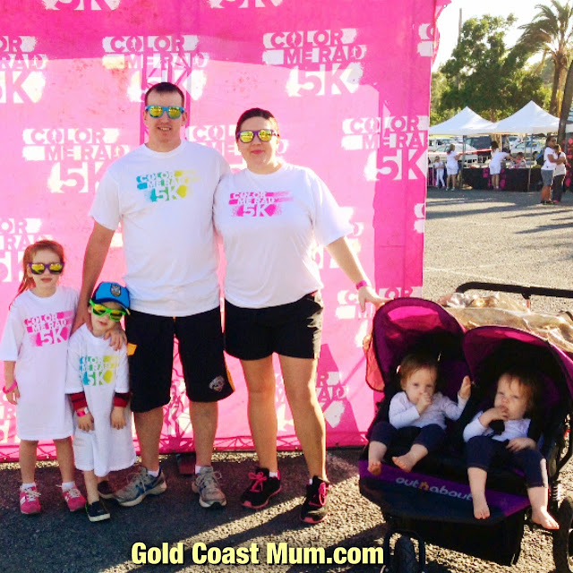 Gold Coast Mum blogger Color Me Rad 5k, twins in Out N About twin pram, Wet N Wild Gold Coast, double jogger pram, www.goldcoastmum.com