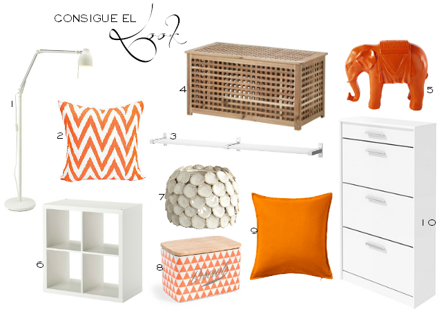 Decoración en color naranja estilo nórdico