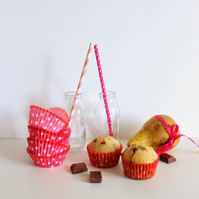 Illustration muffins poires et pépites de chocolat