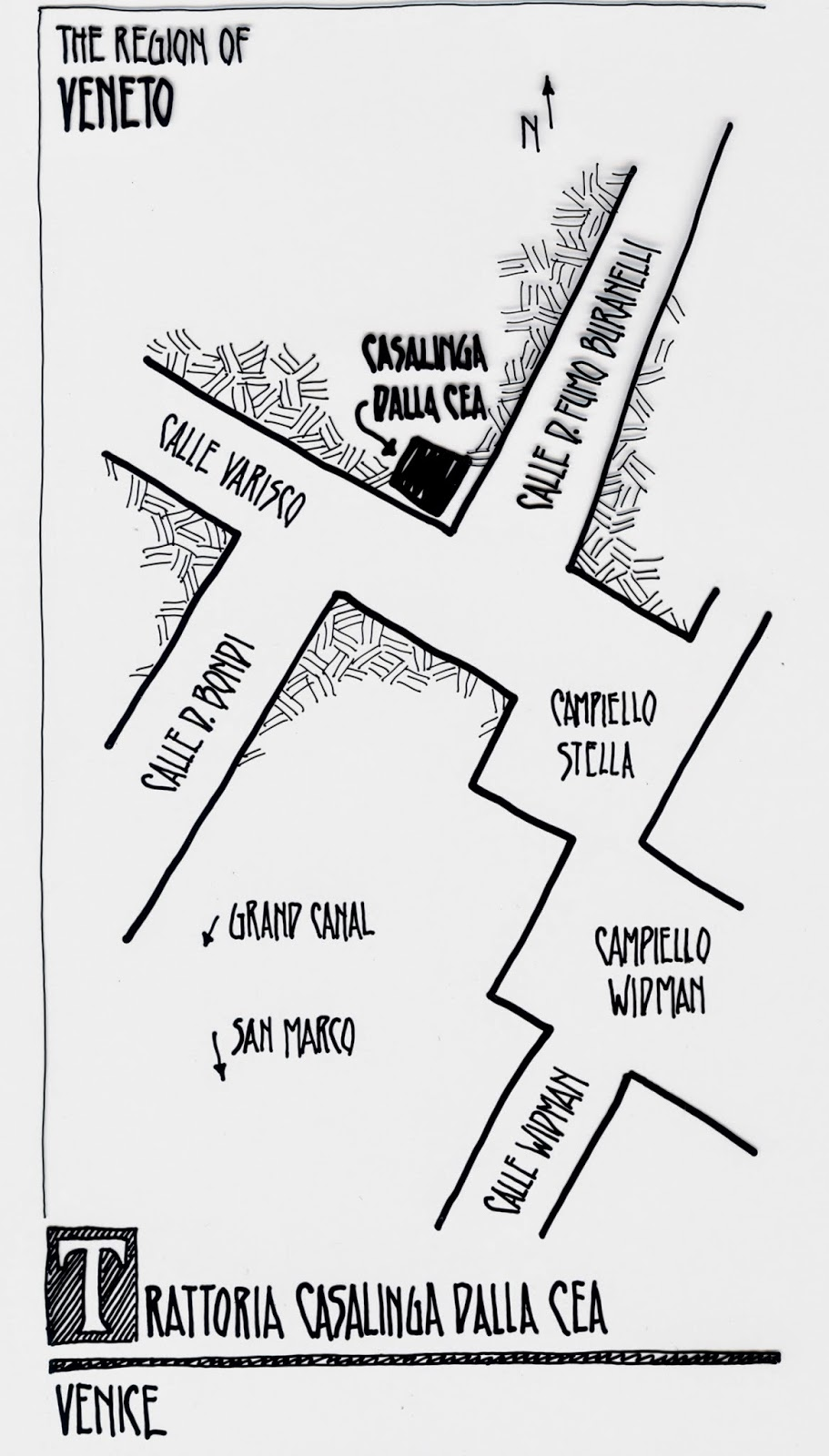 map to Trattoria Cea, Venice Italy