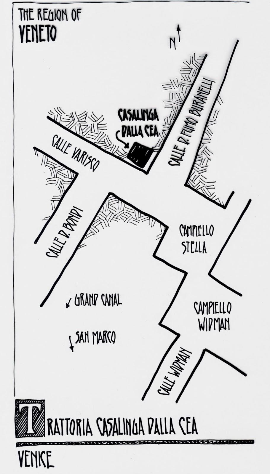 map to Trattoria Cea, Venice Italy