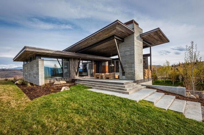 Estilo rustico casa moderna y rustica en wyoming for Fachadas de casas estilo rustico moderno
