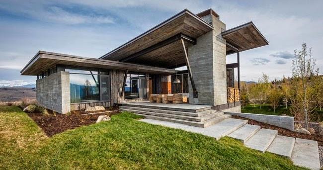 Estilo rustico casa moderna y rustica en wyoming for Casa moderna y rustica