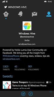 twitter WP app UI profile