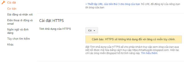 Bật HTTPS cho Blogger / Blogspot