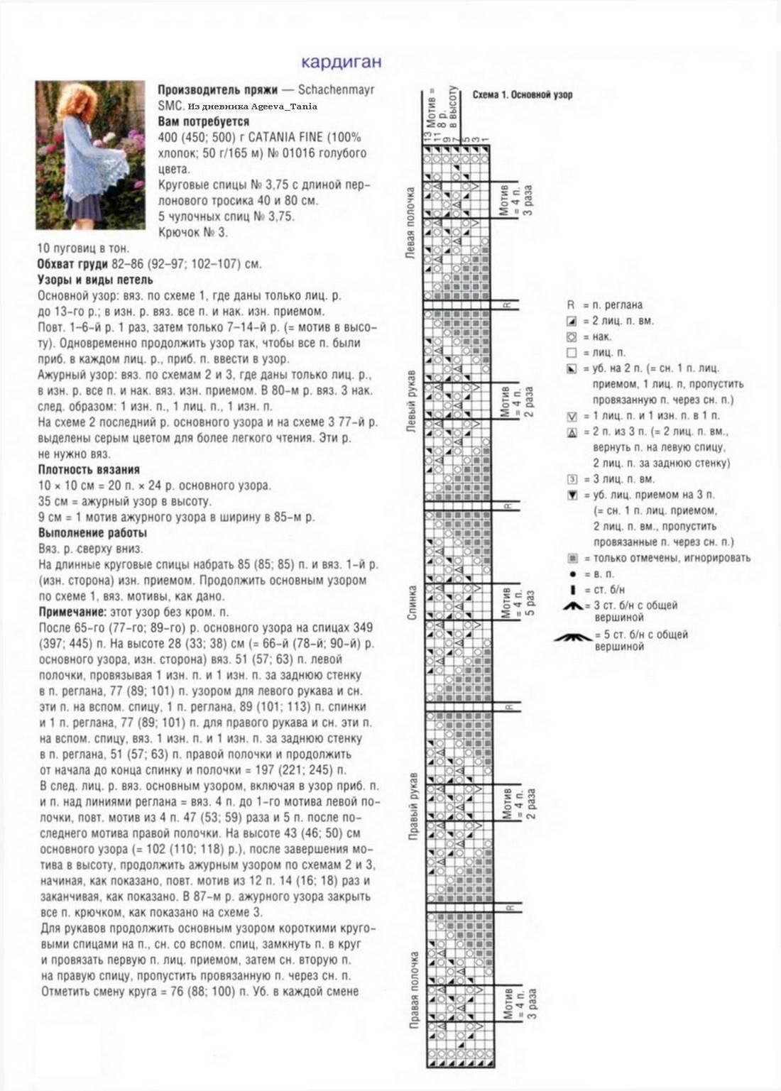 Кардиган нежная лилия схема вязания