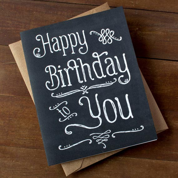 Chalkboard Happy Birthday Card Hand Lettered