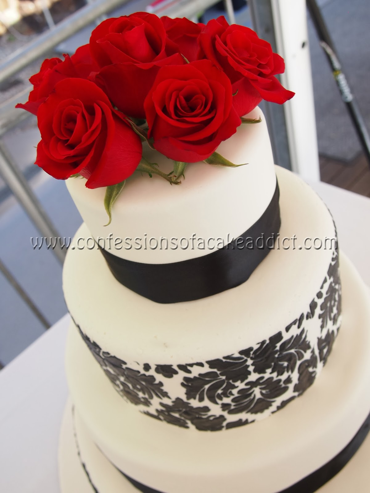 confessions of a cake addict Black and White Damask