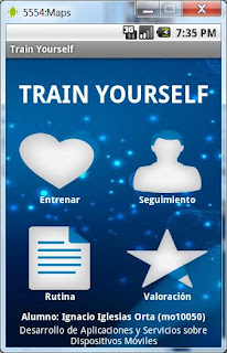 Train Yourself: Pantalla principal