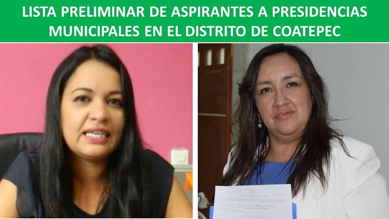 LISTA PRELIMINAR DE ASPIRANTES A PRESIDENCIAS MUNICIPALES EN EL DISTRITO DE COATEPEC