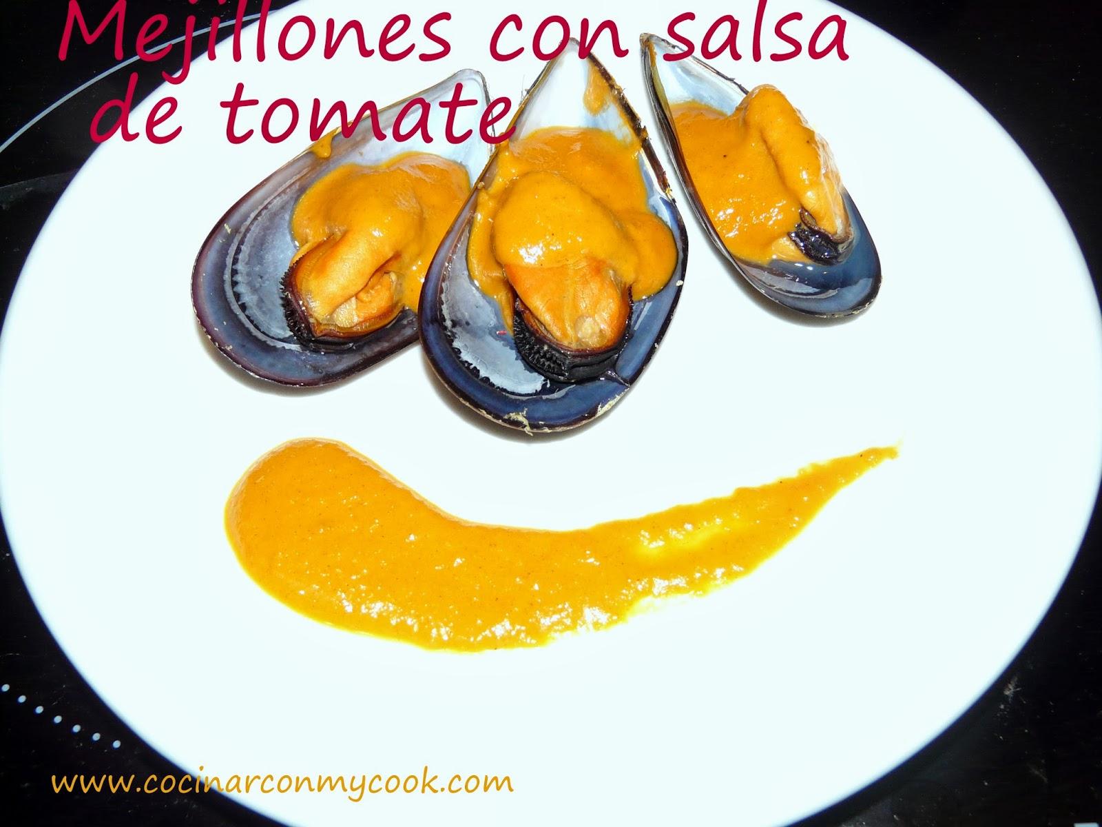 Cocinar con mycook mejillones con salsa de tomate for Cocinar mejillones en salsa