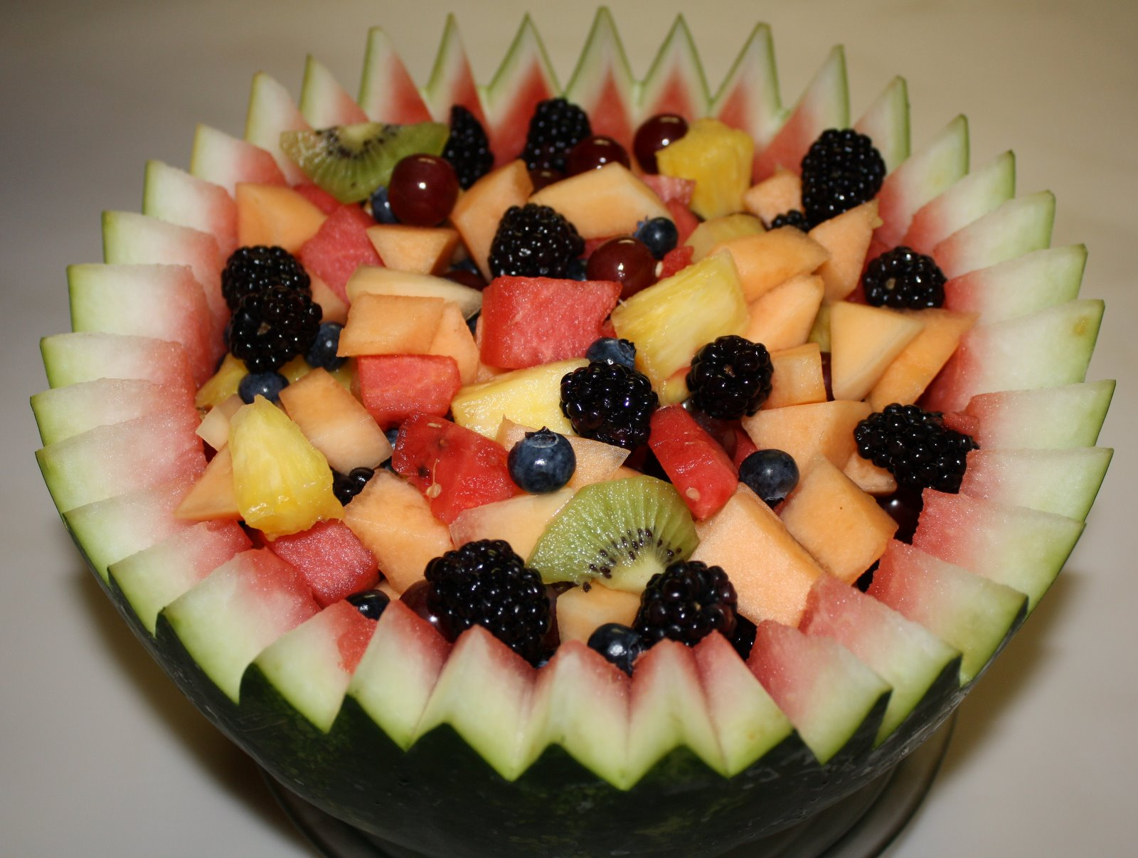 ... in town. my mum made this fantastic fruit salad in a watermelon bowl