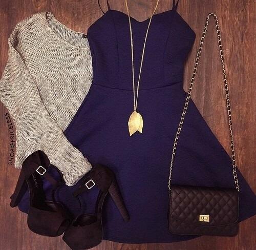 Dark Blue Dress, Sweater, Heels, Hand Bag, Sweater | Outfits