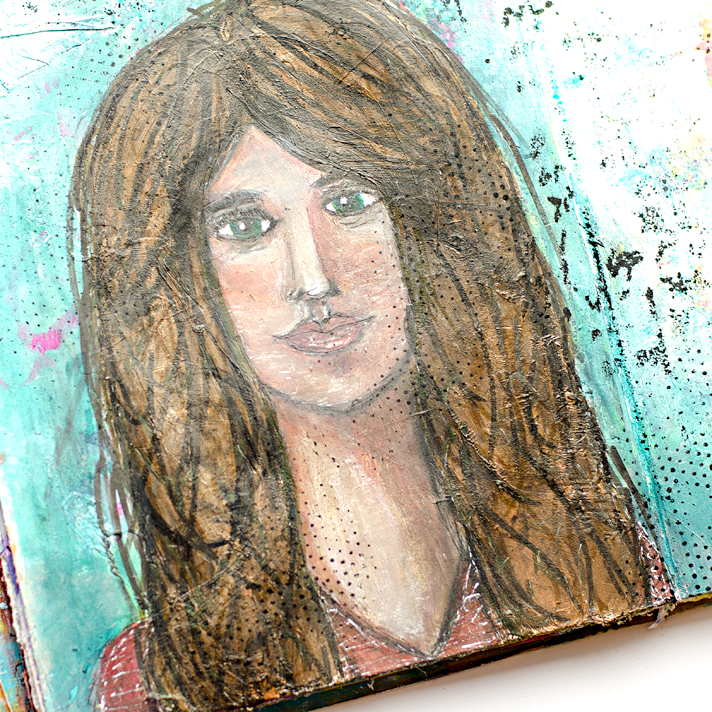 first try at drawing a face, easy with a stencil template - mixed media art journaling