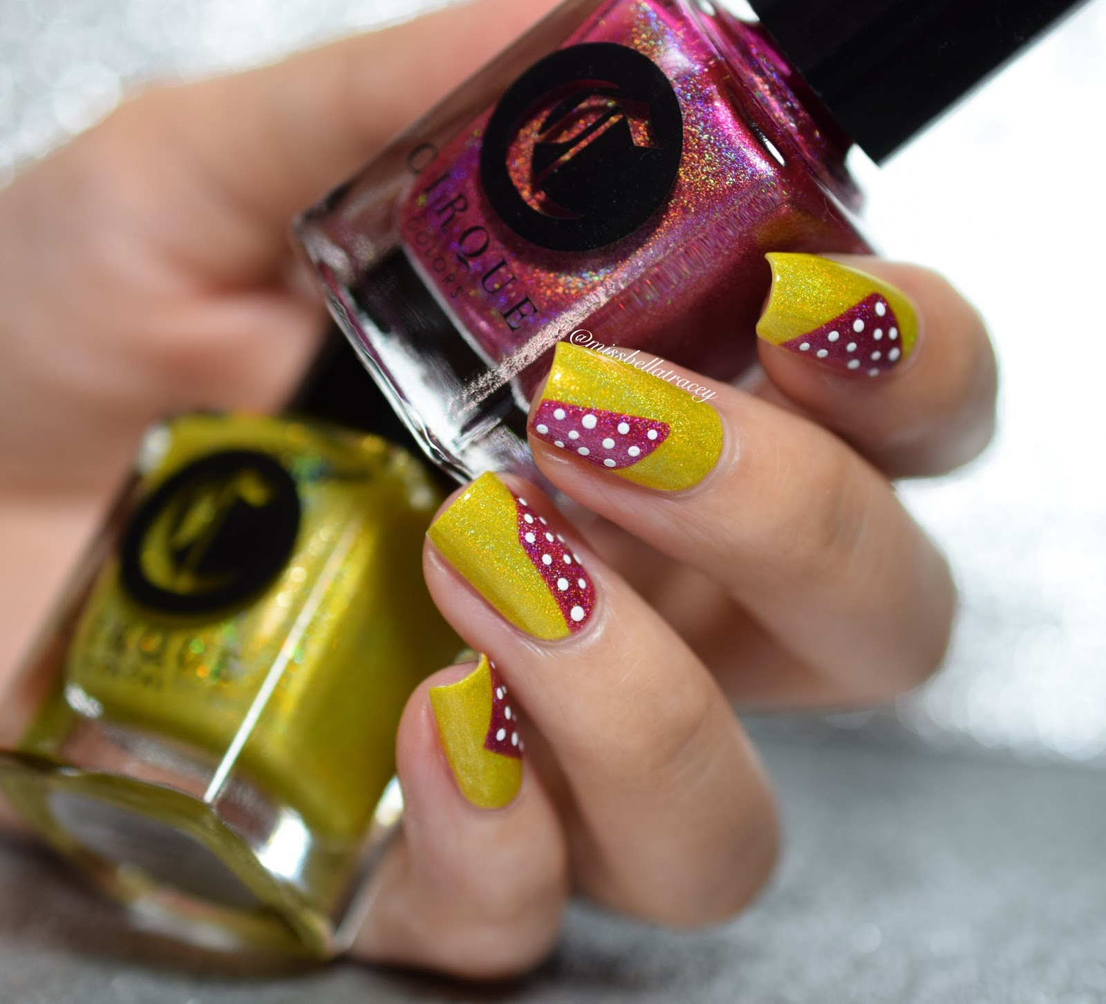 Missbellatracey Wnac Lemon Cherry Colour Combo Dotted Nail Art