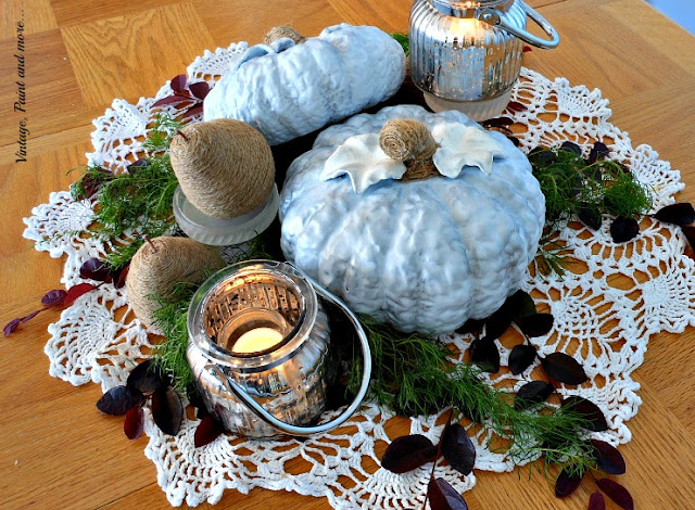 Vintage, Paint and more... DIY blue pumpkins, twine wrapped pears and vintage crochet doily for a Fall centerpiece