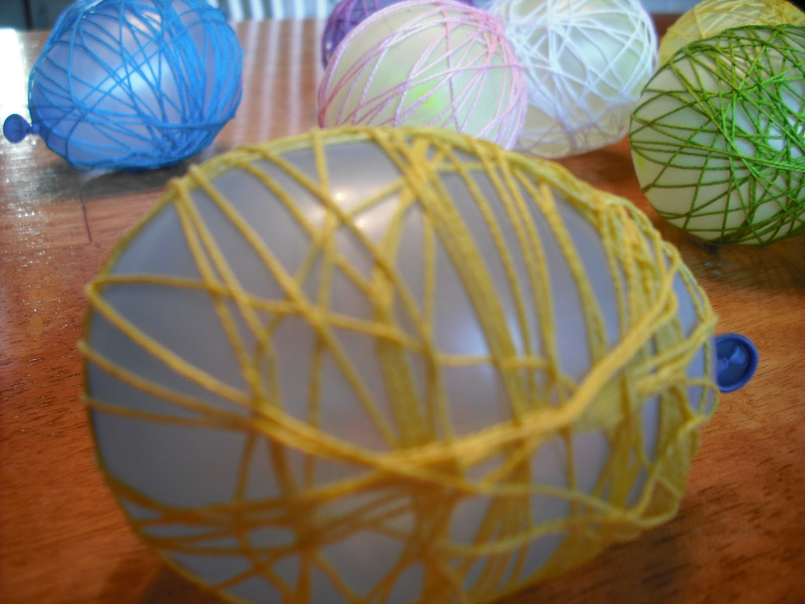 String Balloon Egg Centerpiece : Easter egg craft table decoration centerpiece whateva