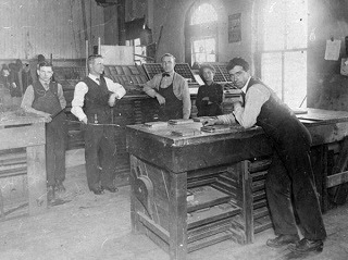 The composing room at the Gazette and Chronicle office. Source: OurOntario.ca