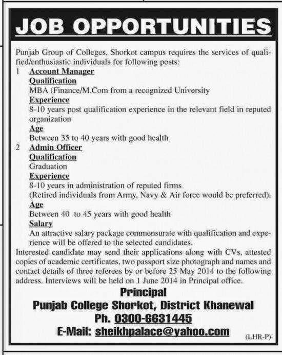 Admin Officer and Account Manager Jobs in Punjab College, Khanewal