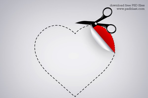 Valentine Heart Shaped Sticker PSD