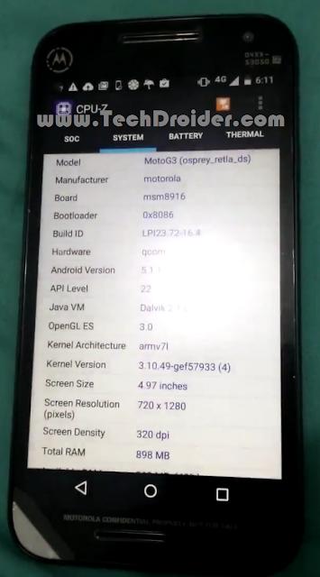 Moto G 3rd Generation Xt1543