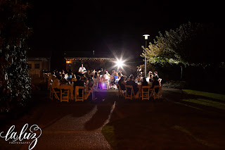 The reception was held on the Robinswood House patio