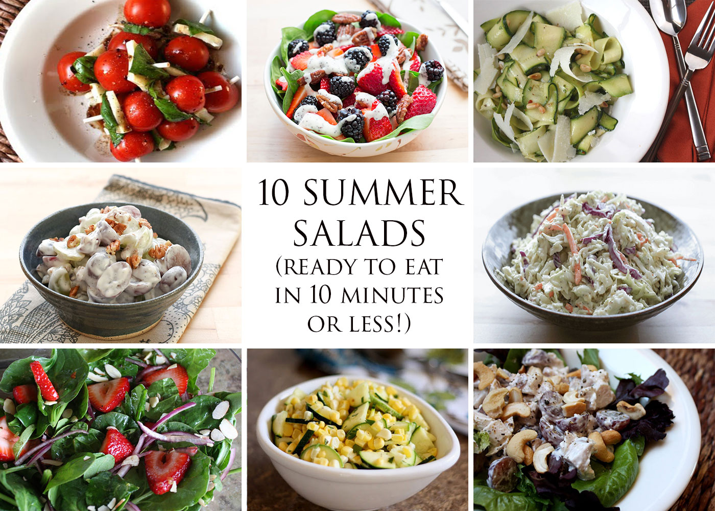 10 Summer Salads (ready to eat in 10 minutes or less!) recipes by Barefeet In The Kitchen