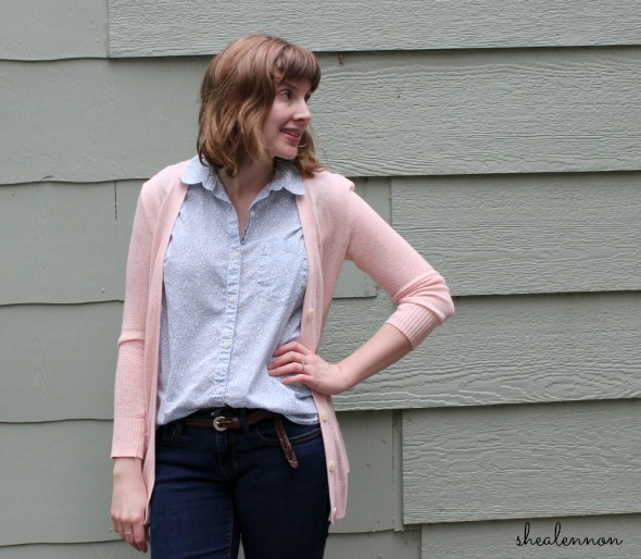pale pink with light blue floral and jeans | www.shealennon.com