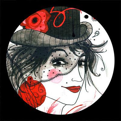 Femme avec chapeau et plumes