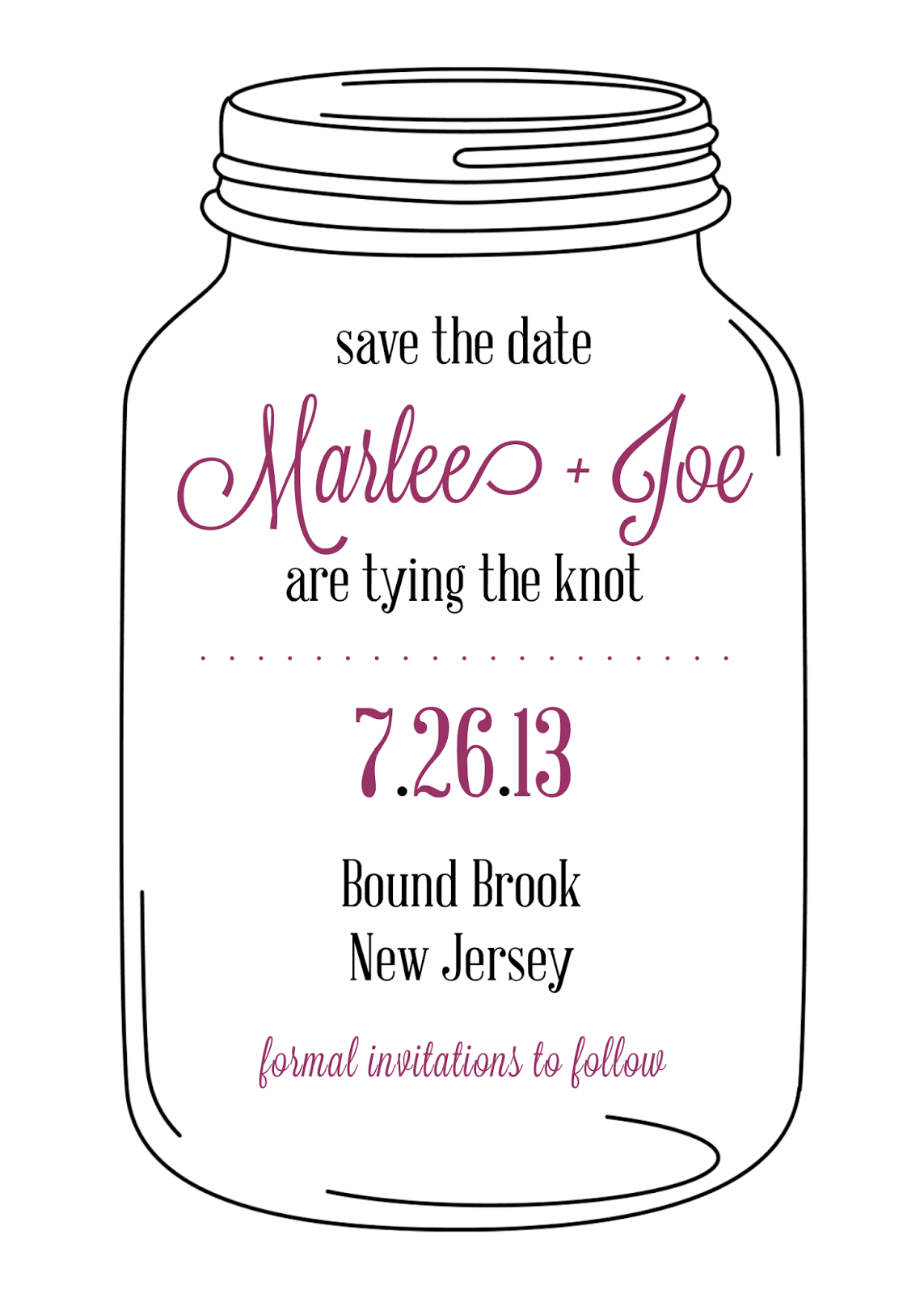 sugar queens mason jar save the date cards. Black Bedroom Furniture Sets. Home Design Ideas