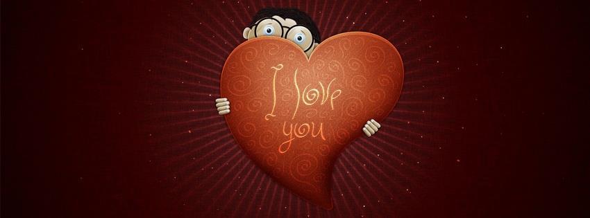 Ảnh bìa trái tim có chữ I LOVE YOU