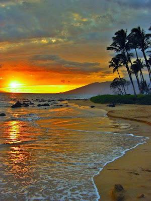 atardecer en la playa caribeña