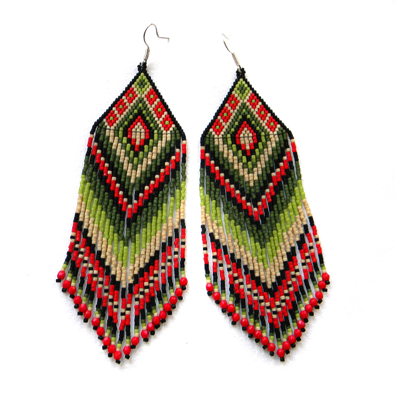 Large colorful seed bead earrings - red and green - beaded jewelry - long dangle earrings