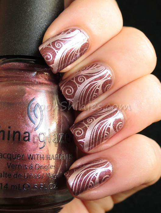 China Glaze Hey Doll with Kiko #630 Golden Rose and Konad plate m51