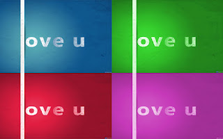 Love U Colorful Simple Text Wallpaper