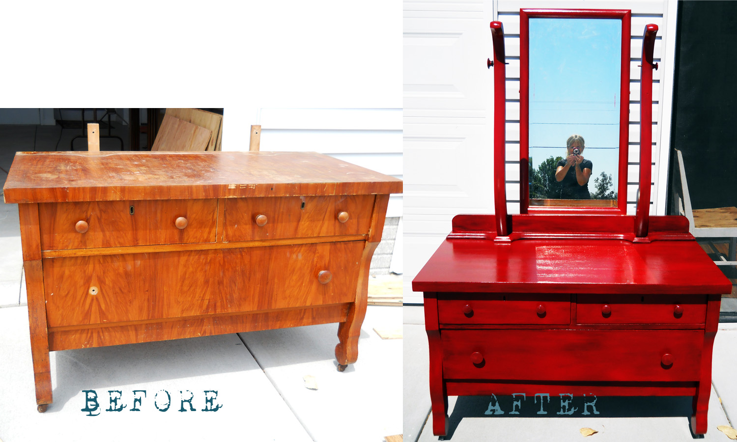 Lake girl paints furniture redo in red for Redo furniture
