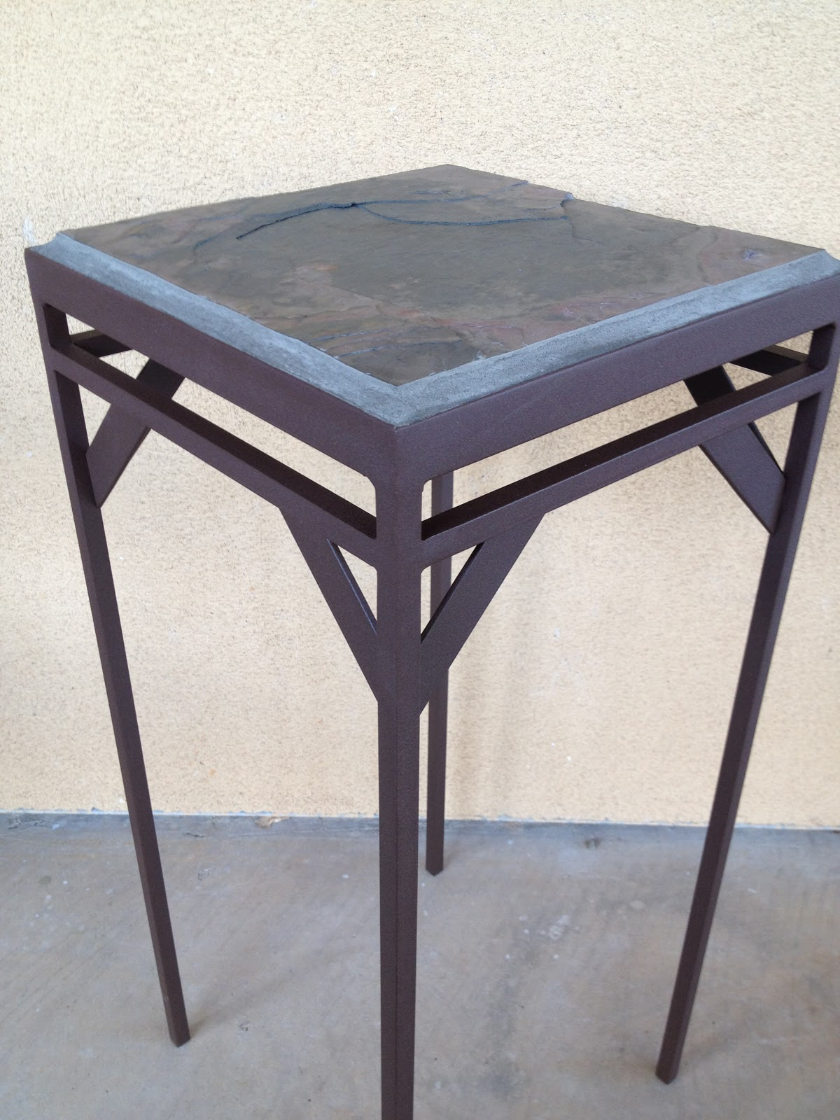Powder Coated Steel Tables With A Slate Top. Each Tables Has A . Full resolution  photograph, nominally Width 1200 Height 1600 pixels, photograph with #486383.