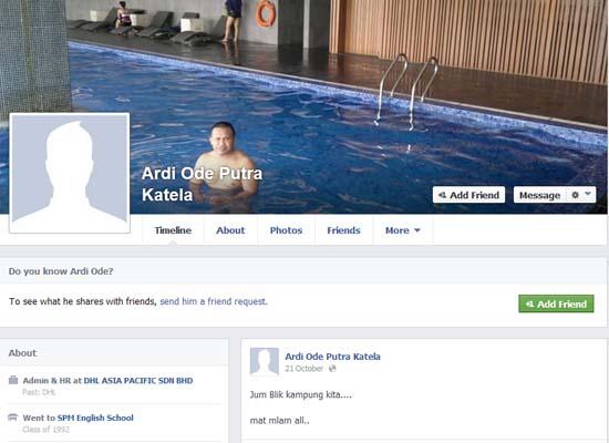 Facebook Ardi Hamza - Suspek Pembunuhan Kakitangan Ambank