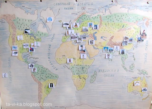 Карточки достопримечательностей на географической карте