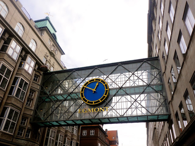 Egmont clock on glass walkway in Copenhagen, Denmark