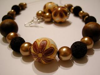 biżuteria z półfabrykatów i decoupage - złoto i lawa (komplet)